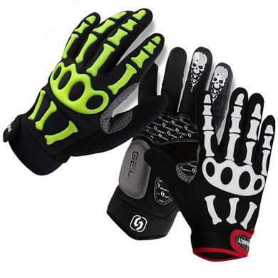 Gel Padded Full Finger Cycling Gloves with Skull and Bone Pattern
