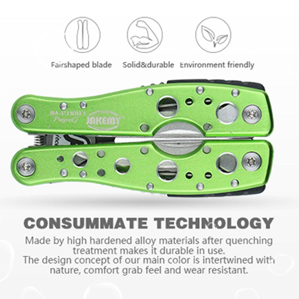 Compact 9 in 1 Hand Tool with a Variety of Essential Tools for Camping, Trekking and Outdoor Survival