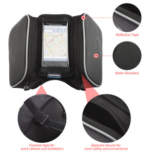 Pair of Water Resistant Bicycle Saddlebags with Phone Pouch for a 4.8/5.5 Inch Touch Screen Cellphone