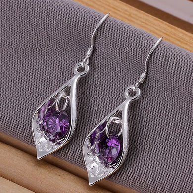 Purple Stone Craved Earring