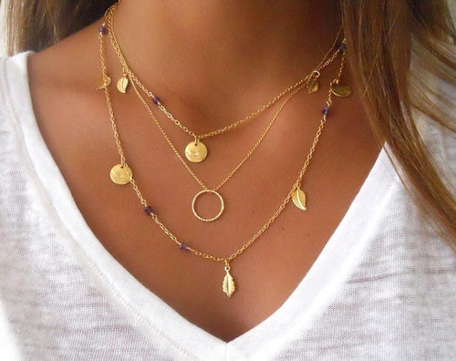 Multi Layer Chain Leaves Necklace - Gold & Silver