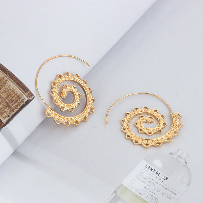 Gipsy Swirling Earrings - Gold & Silver