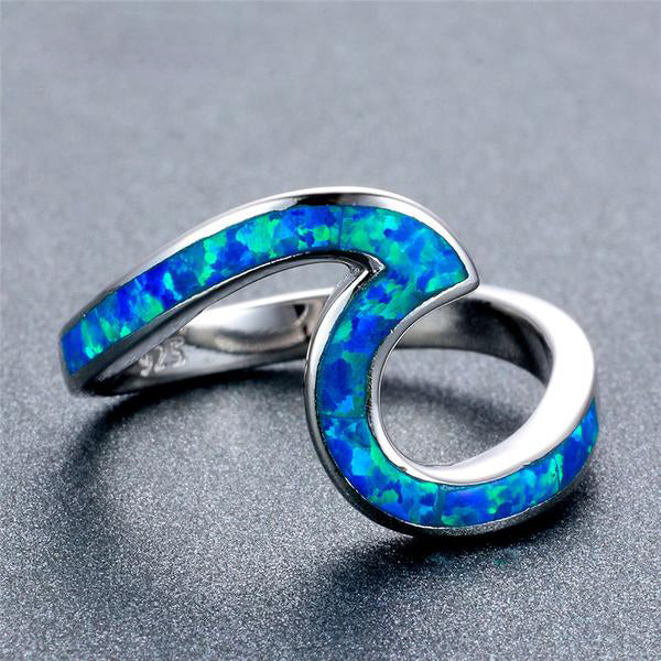 Geometric Blue Fire Opal Ring - 925 Sterling Silver