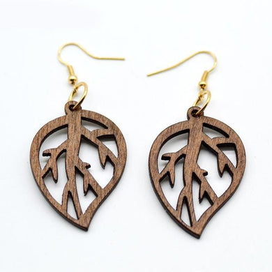 African Wood Leaf Earring