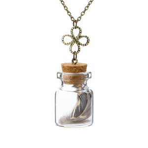 Vintage Lucky Glass Wishing Bottle Pendant - Necklaces