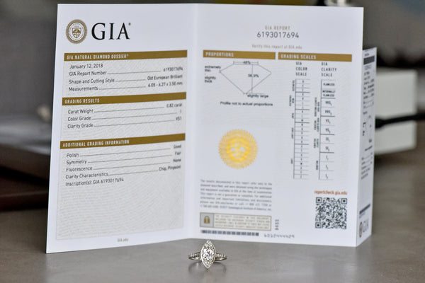 GIA Gemological Institute of America Graduate Gemologist GG Diamond Estate Jewelry