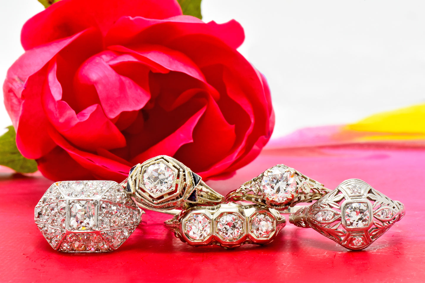 Red Rose Stack of Platinum Antique Engagement Rings Three Stone Ring Pave Ring Art Deco