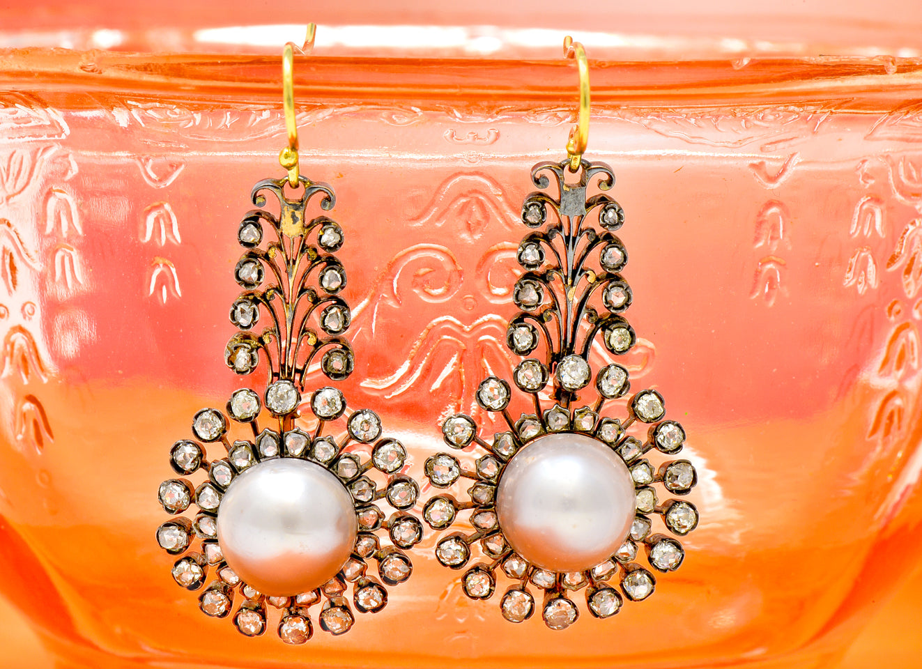 Victorian Silver-Topped Natural Pearl Drop Earrings Antique Jewelry