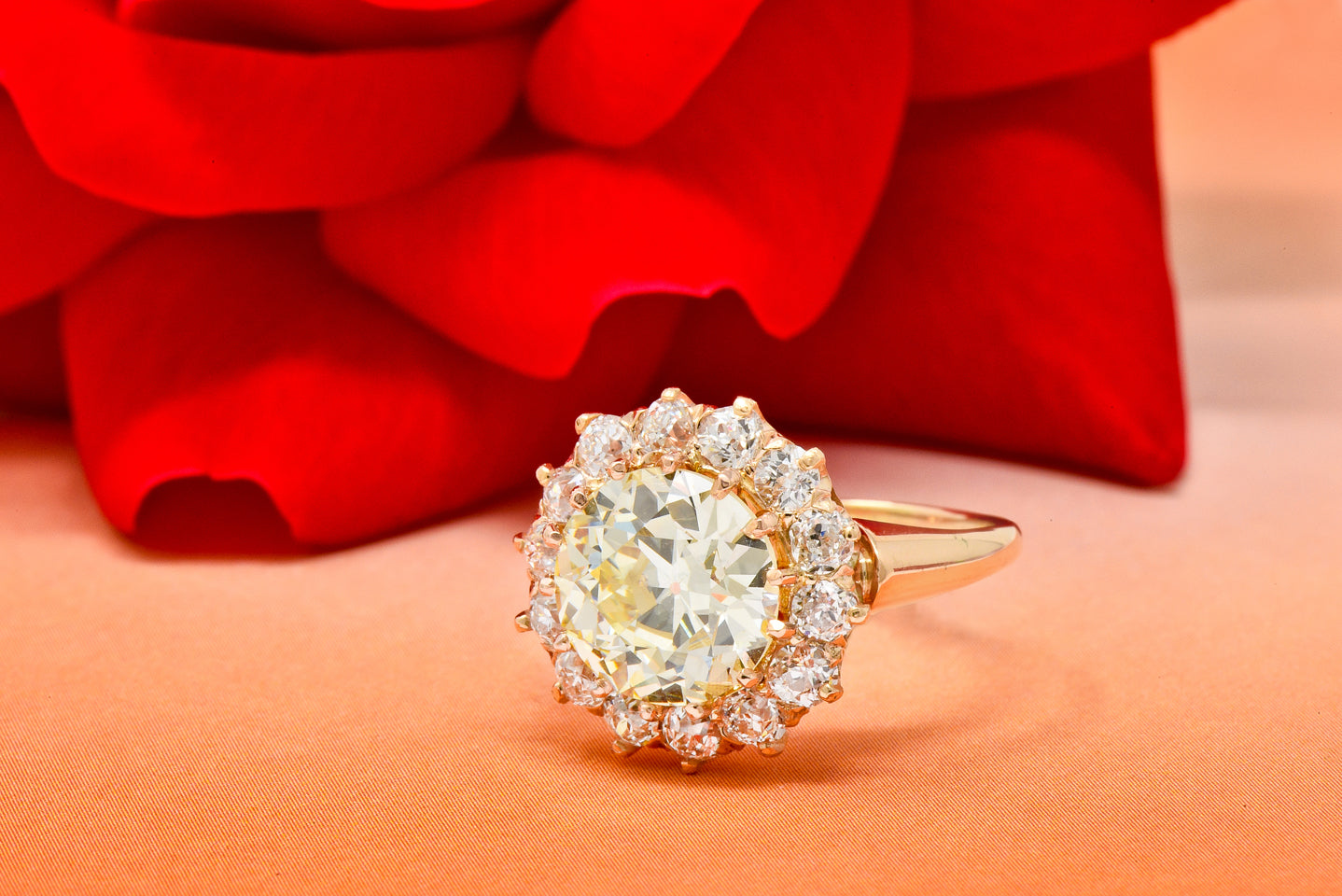 Rose Retro Old European Cut Diamond Cluster Engagement Ring Antique Engagement Rings