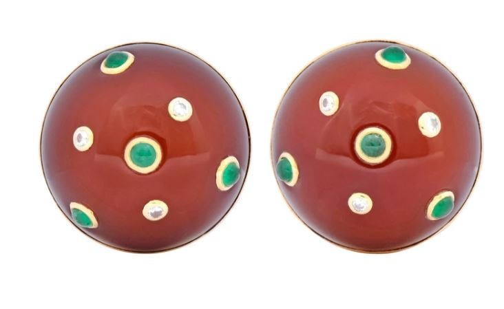 Carnelian Cabochon Gemstone Jewelry Emerald Earrings