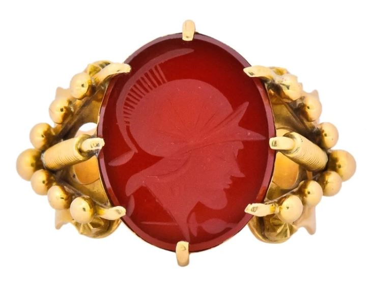 Carnelian Intaglio Signet Ring Gemstone Estate Jewelry