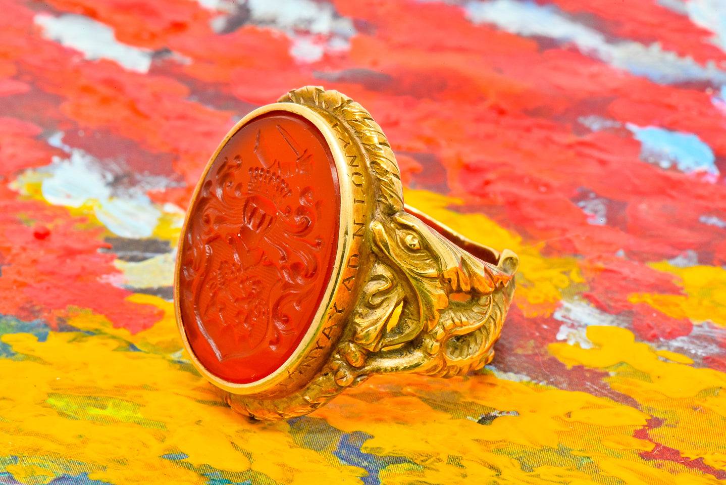 Carnelian Intaglio Signet Ring Dragon Heraldry Motif Art Nouveau Men's Antique Jewelry