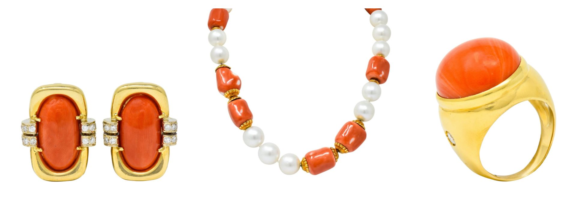 Vintage 1960's Coral Ear-Clips Coral Statement Ring Seaman Schepps Retro Pearl Necklace