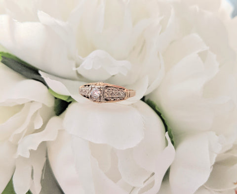 White Flower Wedding Bouquet Two-Tone Gold Orange Blossom Diamond Engagement Ring