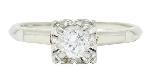 Orange Blossom Motif Round Brilliant Diamond Retro Engagement Ring