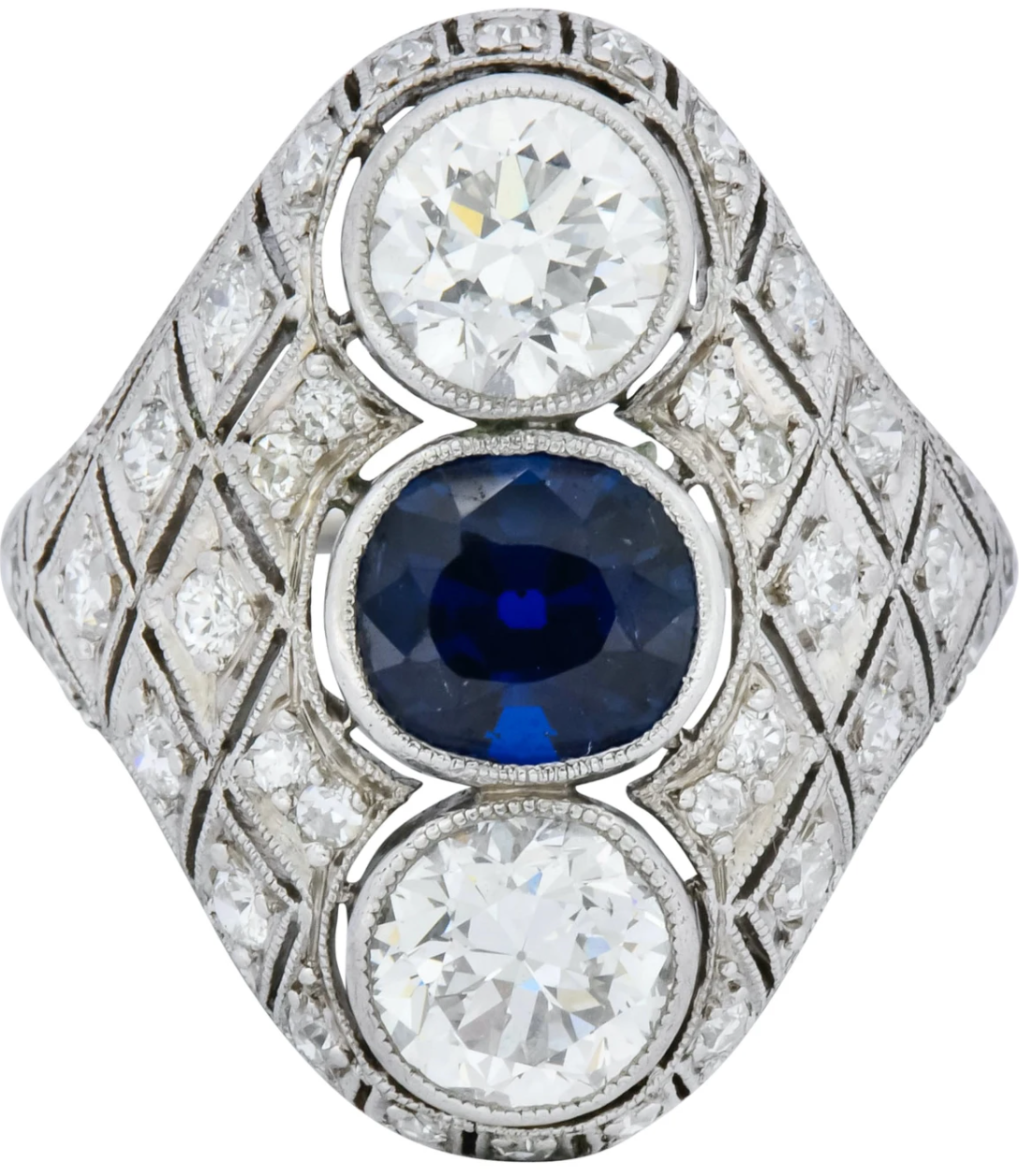 Three Stone Art Deco Dinner Ring Sapphire Diamond Antique Jewelry September Birthstone