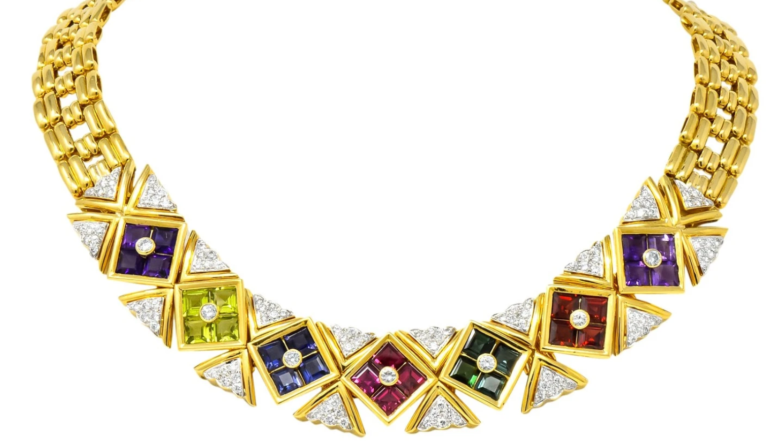 Tiffany & Co. Paloma Picasso 18 Karat Gold Harlequin Gemstone Collar Necklace