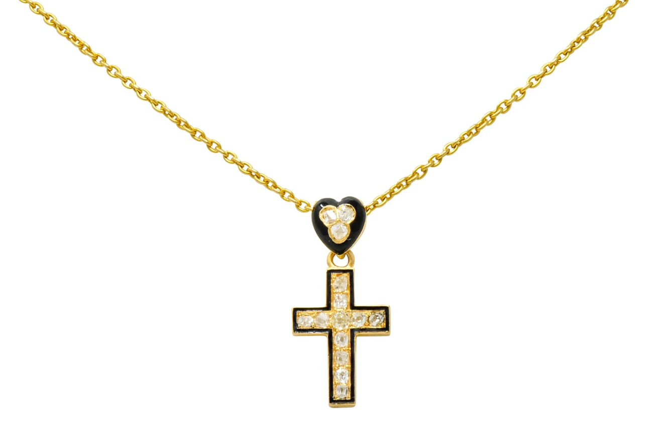 Rose Cut Diamond Cross Necklace Heart Pendant Antique Mourning Jewelry