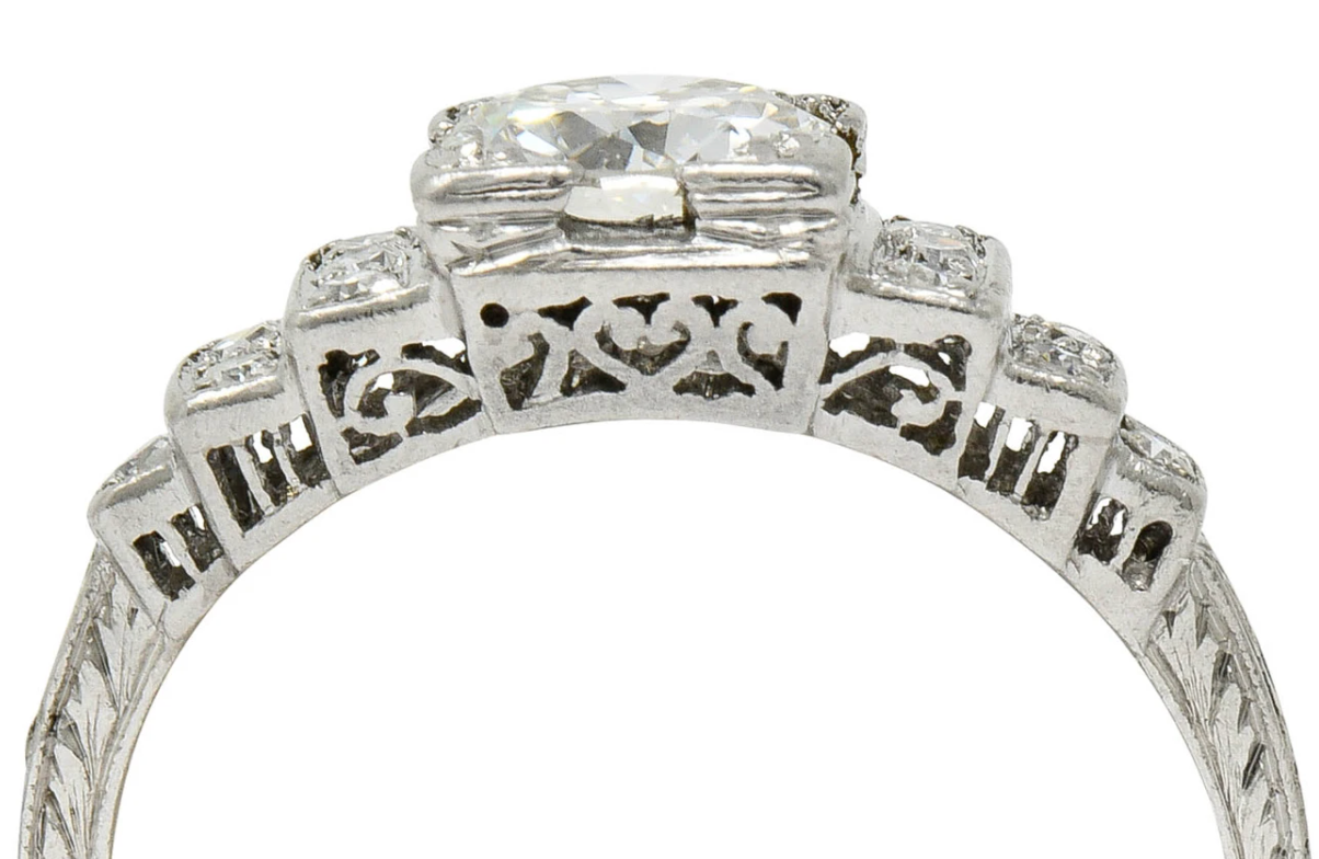 Art Deco Diamond Engagement Ring With Heart Gallery Stepped Shoulders