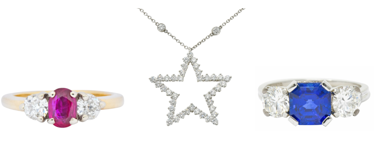 Red White And Blue Patriotic Jewelry Star Necklace Tiffany & Co. Sapphire Ring Ruby Three Stone