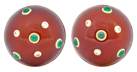 Trianon Seaman Schepps Carnelian Emerald Diamond Earrings Philadelphia Estate Jewelry