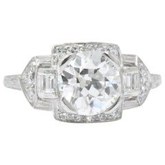 Art Deco 1.80 CTW Diamond Platinum Geometric Engagement Ring GIA