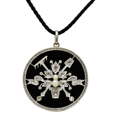 Belle Époque Diamond Onyx Platinum-Topped 18 Karat Gold French Flower Garden Pendant Necklace