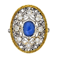 Buccellati 1.71 CTW Sapphire Diamond 18 Karat Two-Tone Gold Dinner Ring