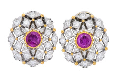 Buccellati Vintage 2.75 CTW Ruby Diamond 18 Karat Two-Tone Gold Earrings