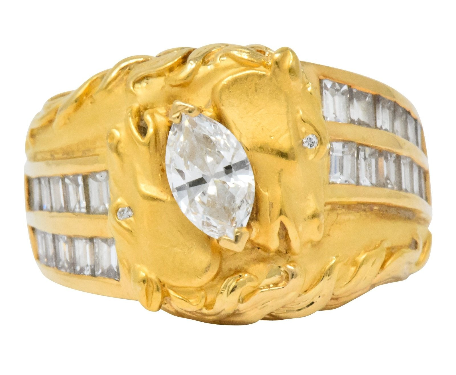 Carrera y Carrera marquise diamond horse bypass ring vintage estate jewelry