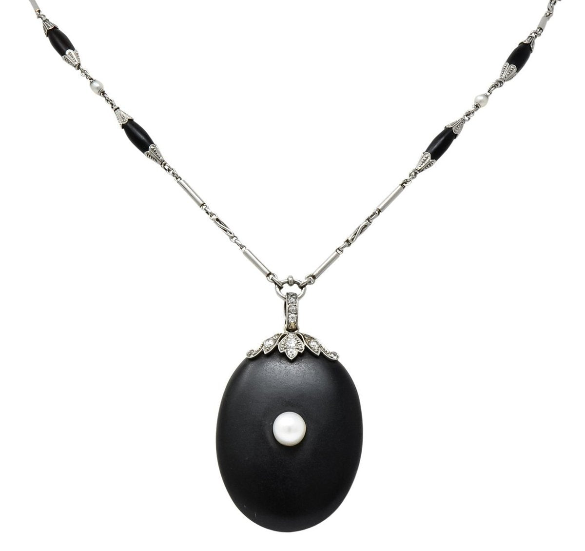 Victorian Mourning Jewelry Carved Onyx locket pendant Pearl accent onyx station necklace