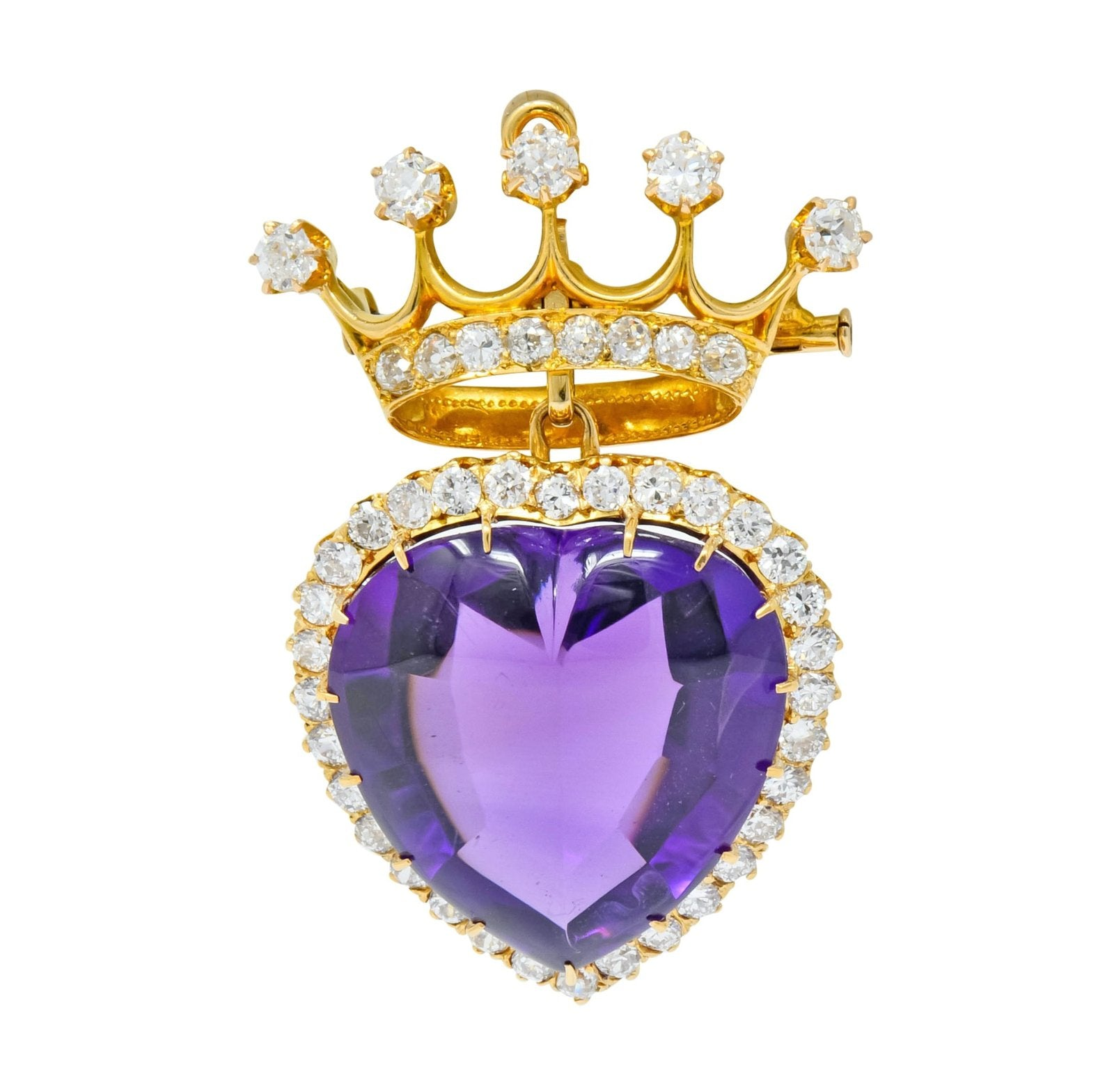 Victorian Crowned Heart Brooch Purple Heart Amethyst Cabochon Diamond Halo