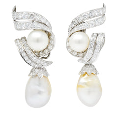 David Webb 1960's 4.76 CTW Diamond Pearl Platinum & 18 Karat Gold Day Night Earrings