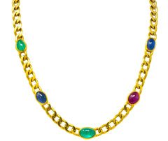 David Webb 20.00 CTW Ruby Sapphire Emerald 18 Karat Gold Curb Link Necklace