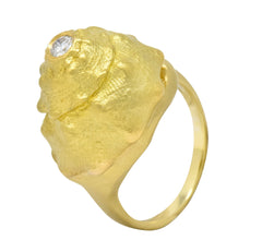 David Webb Vintage Diamond 18 Karat Gold Conch Shell Ring