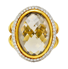 David Yurman Champagne Topaz Diamond 18 Karat Gold Statement Ring