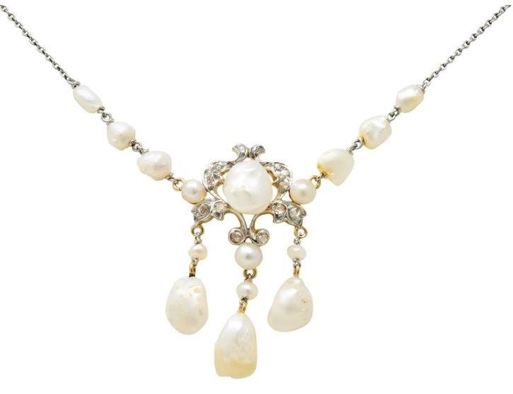 Edwardian Dog Tooth Pearl Swag Drop Necklace Freshwater Natural Pearl