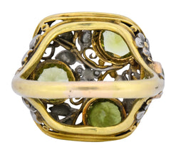Edward Oakes Arts & Crafts 2.15 CTW Peridot 18 Karat Two-Tone Gold Platinum Floral Ring