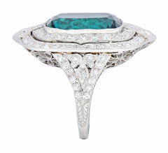 Edwardian 9.90 CTW Green Tourmaline Diamond Platinum Belle Epoque Ring