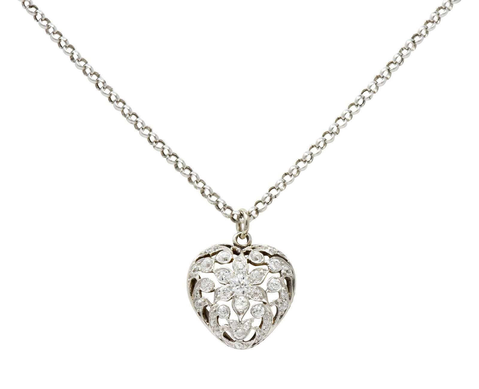 Edwardian Pave Diamond Heart Necklace Platinum