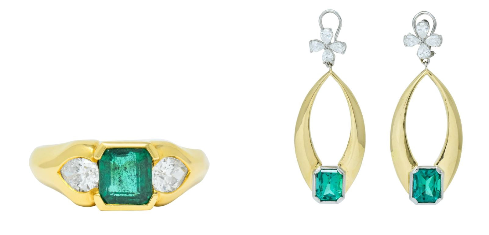 Retro Zambian Emerald Drop Earrings Vintage Emerald Three Stone Ring