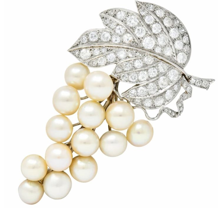 Freshwater Saltwater Pearl Grape Cluster Brooch Pave diamond leaf Edwardian Estate Jewelry