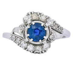 Jabel Retro 1.50 CTW Sapphire Diamond 18k White Gold Bypass Ring Circa 1940's