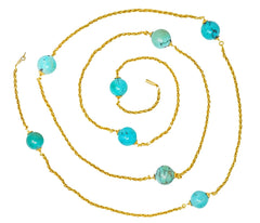 Late Victorian Turquoise Bead 18 Karat Gold 46 Inch Station Necklace
