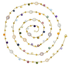 Marco Bicego Cultured Pearl Citrine Topaz Multi Gemstone 18 Karat Gold Necklace