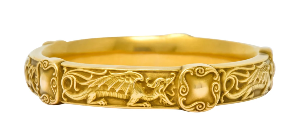 Riker Brother Art Nouveau Dragon Gold Bangle Bracelet Antique American Made Jewelry