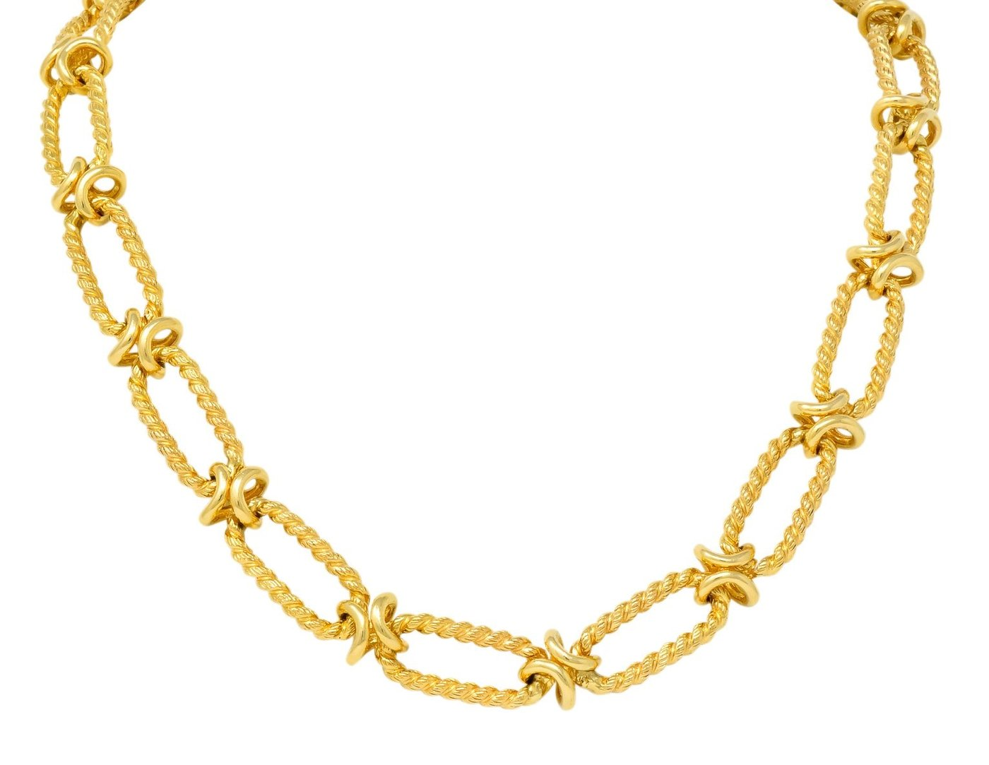 Gold Link Chain Twisted Rope Statement Collar Necklace