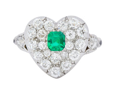 Tiffany & Co. Edwardian 1.54 CTW Emerald Diamond Platinum-Topped 18 Karat Gold Heart Cluster Ring