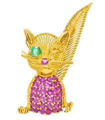 Tiffany & Co. Retro 5.45 CTW Ruby Emerald 18 Karat Yellow Gold Winking Cat Brooch