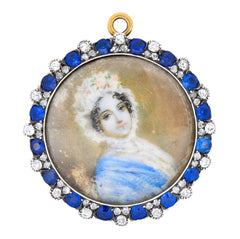 Tiffany & Co. Victorian 2.88 CTW Diamond Sapphire Silver-Topped 14 Karat Gold Painted Portrait Pendant Brooch